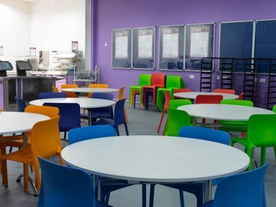Classroom Using POP Orang,green,blue And Red Chairs