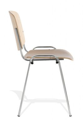 Iso Beech Conference Chair With Chrome Legs