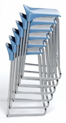 Adl Stack Of Stools With A Soft Blue Seat