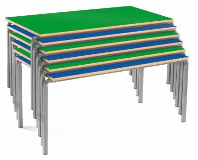 Ms Rectangular Crush Bent Classroom Tables Stacked