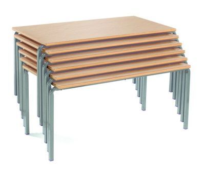 Ms Rectangular Crush Bent Classroom Tables Beech Top