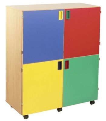 Smartie 36 Mobile Classroom Cupboard With 4 Coloured Doors