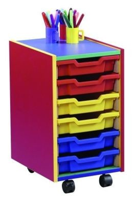An image of Colour My World 6 Shallow Tray Unit - Coloured Storage
