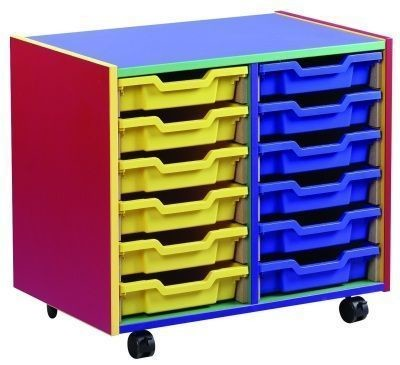 An image of Colour My World 12 Shallow Tray Unit - Coloured Storage