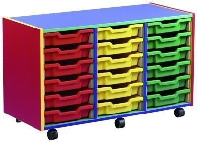 An image of Colour My World 18 Shallow Tray Unit - Coloured Storage