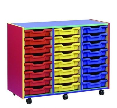 An image of Colour My World 24 Shallow Tray Unit - Coloured Storage
