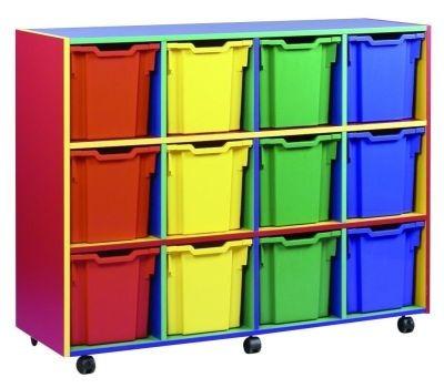 An image of Colour My World 12 Jumbo Tray Storage Unit - Coloured Storage