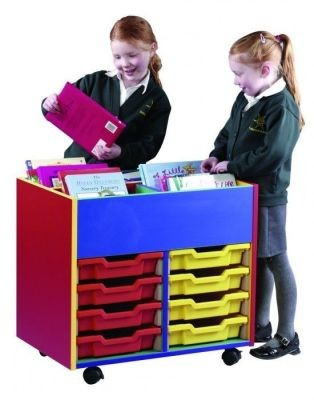An image of Colour My World 4 Bay 8 Tray Kinderbox - Coloured Storage