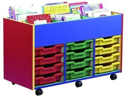 An image of Colour My World 6 Bay 12 Tray Kinderbox - Coloured Storage