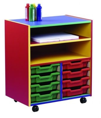 An image of Colour My World 8 Shallow Tray Combi Unit - Coloured Storage