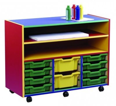 An image of Colour My World 12 Shallow Tray Combi Unit - Coloured Storage
