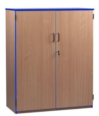 Wooden Coloured Edge Stock Cupboards With Blue Trim