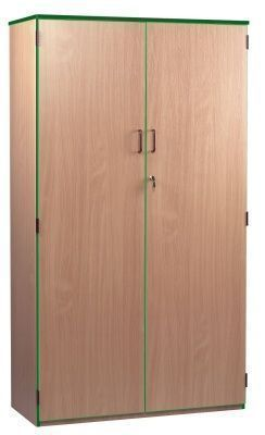 Wooden Coloured Edge Stock Cupboards With Green Trim