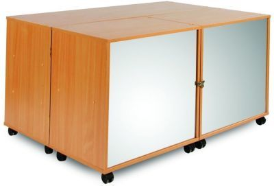 Modern Tri-Fold Mobile Large Classroom Storage Unit With Mirrored Front
