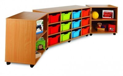 Modern Tri-Fold Mobile Large Classroom Storage Unit With Multi Coloured Drawers