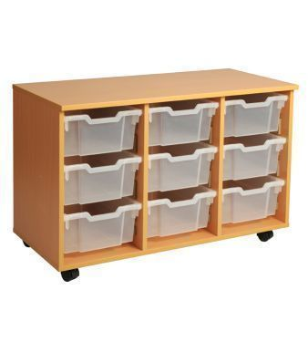 Aztec Triple 3 High Deep Tray Classroom Storage Unit With Clear Trays