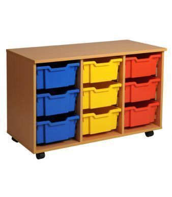 Aztec Triple 3 High Deep Tray Classroom Storage Unit With Coloured Trays