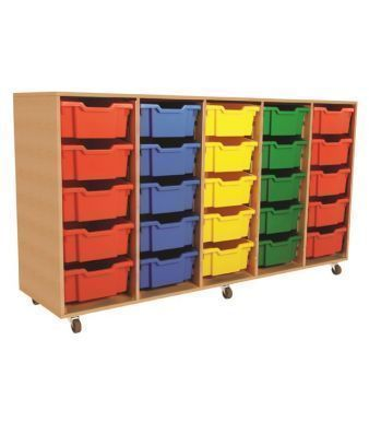 Mobile Aztec Quintet 5 High Deep Tray Storage With Coloured Drawers