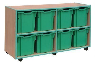 An image of Coloured Edge 8 Jumbo Tray Storage - Jumbo Storage Trays for Schoo...