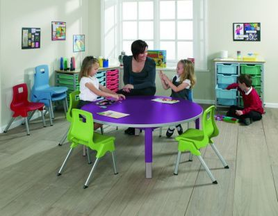 Start Right Round Height Adjustable Nusery Tables In Classroom 2