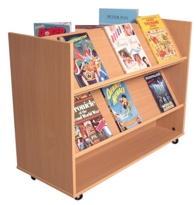 An image of 1 Side Flat/ 1 Side Angled Book Trolley - Lunch Trolleys for Schoo...
