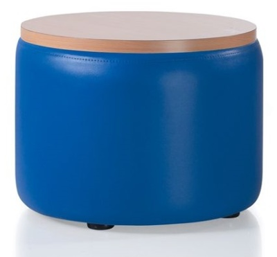 I Link Round Stool With A Wooden Top