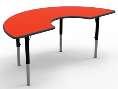 Theme Height Adjustable Classroom Arc Table With A Red Top
