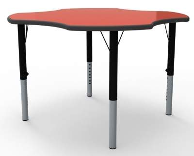 Clover Height Adjustable Classroom Table With Red Top