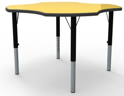 Clover Height Adjustable Classroom Table With A Yellow Top