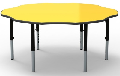Flower Height Adjustable Classroom Table Witha Yellow Top