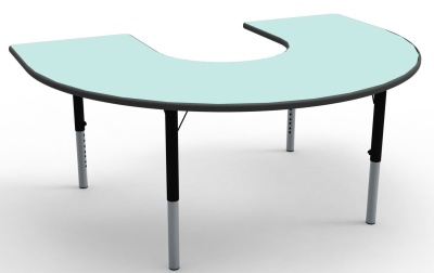 Hotrshoe Height Adjustable Classroom Table With A Pastel Green Top