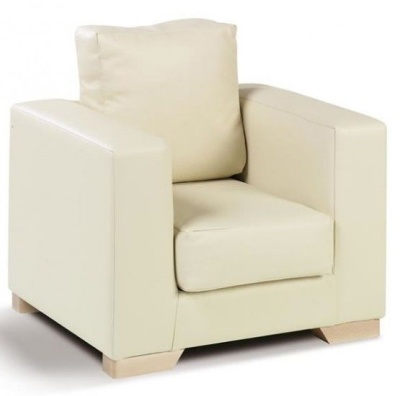 Roma Cream Faux Leather Armchair