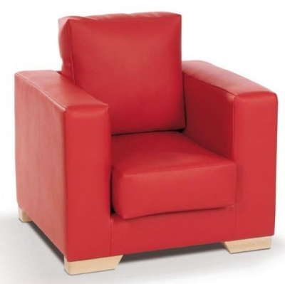 Roma Red Faux Leather Arm Chair