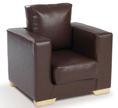 Roma Brown Faux Leather Armchair