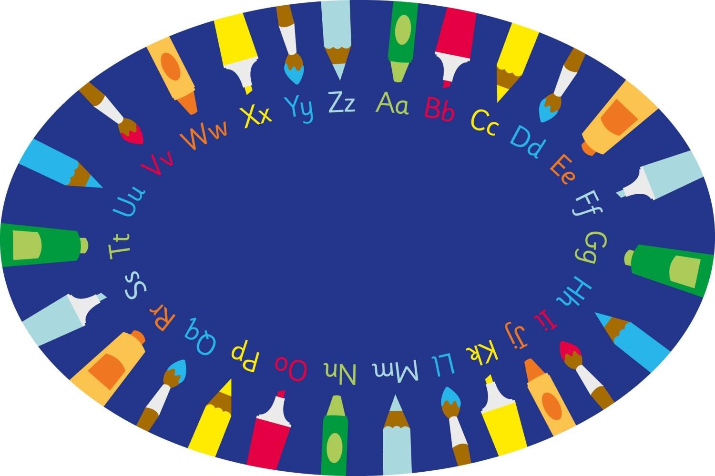 An image of Rainbow Oval Pencils Alphabet Carpet
