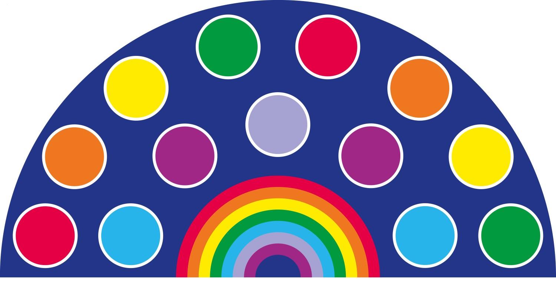 An image of Rainbow Semi Circular Carpet