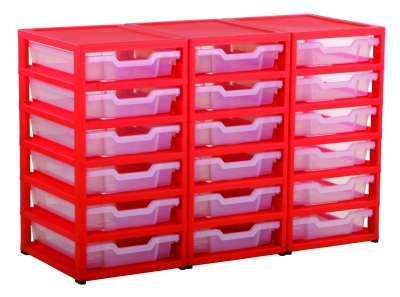 Grat Stack 3 Column Storage And 18 Shallow Trays Red Frame