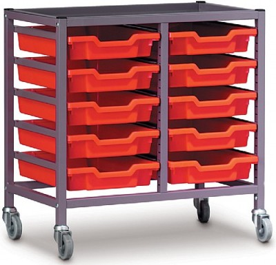 Gratnells Double Column Trolley With Ten Trays