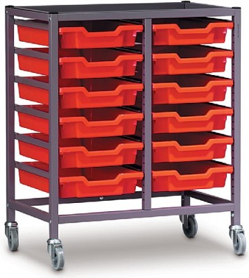 Gratnell Storage Trolley With Twio Columns And 12 Shallow Trays