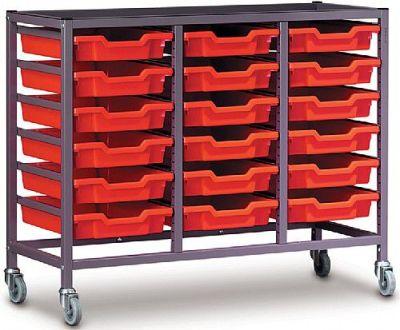 Gratnells Triple Bay Storage With Eighteen Shallow Trays
