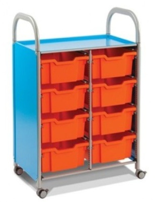 Callero Storage Trolley With Eight Red Deep Trays