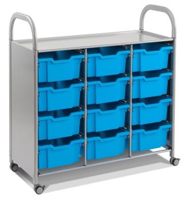 Calero Classroom Trolley With Nine Blue Deep Trays