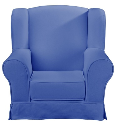 JK Plain BLue Wing Chair