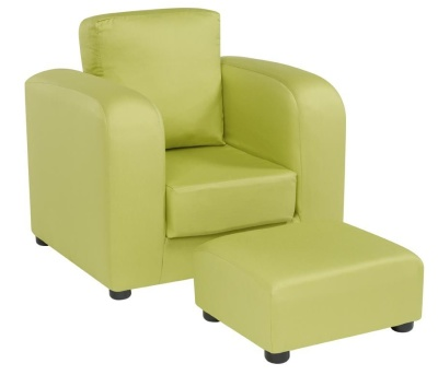 JK Plain Green Armchair And Footstool 1