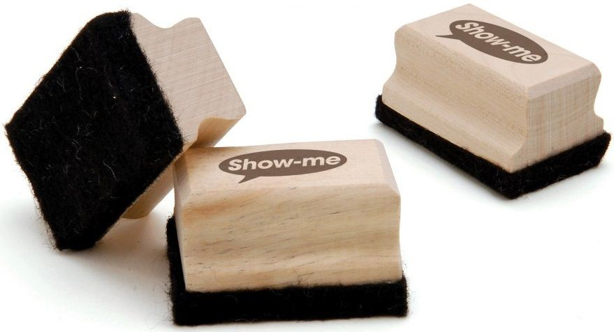An image of Show Me Mini Wooden-Handled Erasers - Whiteboards