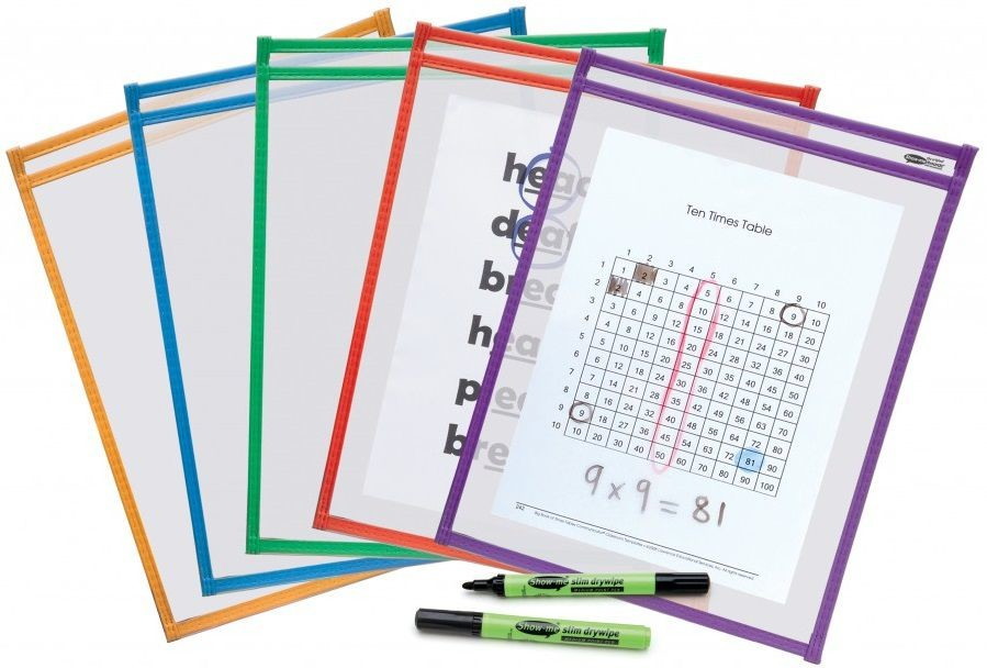 An image of Show Me Drywipe Template Pockets - Whiteboards