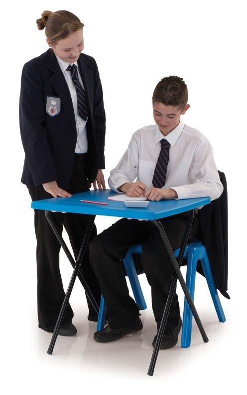 An image of 20 Polypropylene Exam Desks & Trolley Bundle Set - Exam Desks...