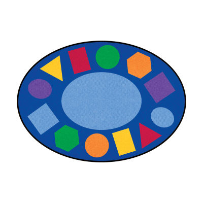 Geometric Shapes Oval Rug