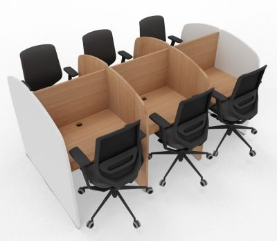Madison 6 Person Study Booth Beech And White Sides