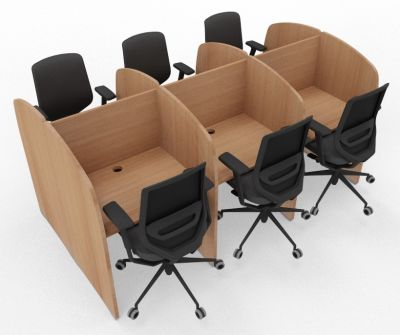 Madison 6 Person Study Booth Full Beech
